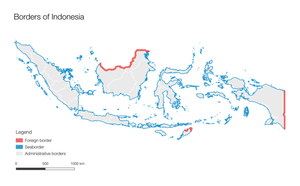 Day 14 (Topic: boundaries): Borders of Indonesia. Indonesia has over 3000 km of land border and over 17 000 islands, making protecting the borders from unregistered entry very difficult, which is why they promote free movement within ASEAN