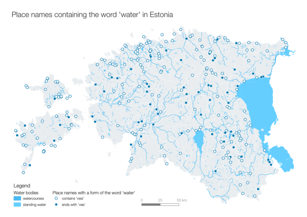 Day 26 (Topic: hydrology): A map of Estonian water bodies and place names with the word 'water' in them. The three most common place names are Vesiroosi - 48 (water lily), Vesiveski - 42 (watermill) and Vee - 23 (water's).