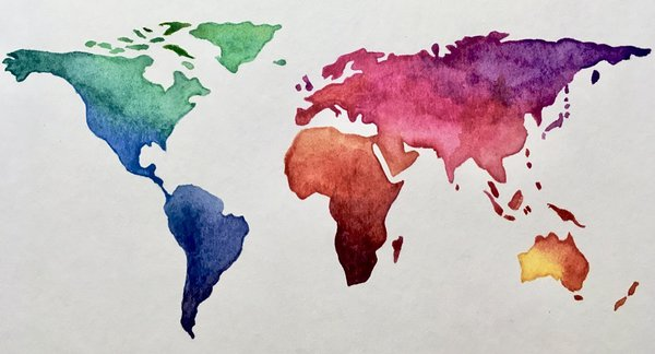 Day 29 (Topic: experimental): we explored our artistic side this time with a watercolour map of the world.