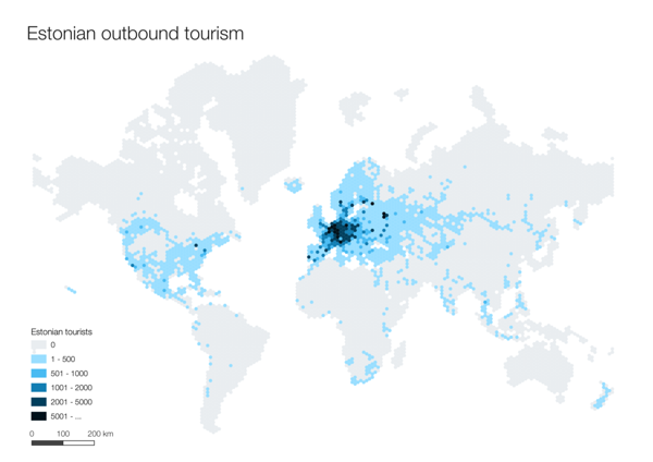 Day 4 (Topic: hexagons): Map of outbound tourists from Estonia.