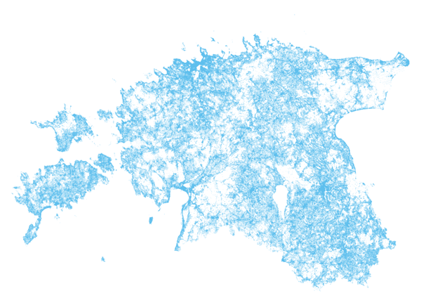Day 5 (Topic: raster): locations of buildings in Estonia (in 2017) depicted by address points (Data: Estonian Land Board address database)