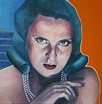 Look in my eyes. Tamara de Lempicka. Oils on canvas, 46 x 46cm. 2019