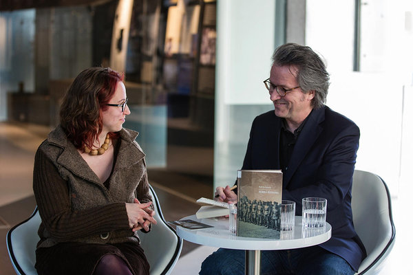 Aija Sakova interviewing German novelist Ralf Rothmann at the Museum of Occupations in Tallinn (2019).