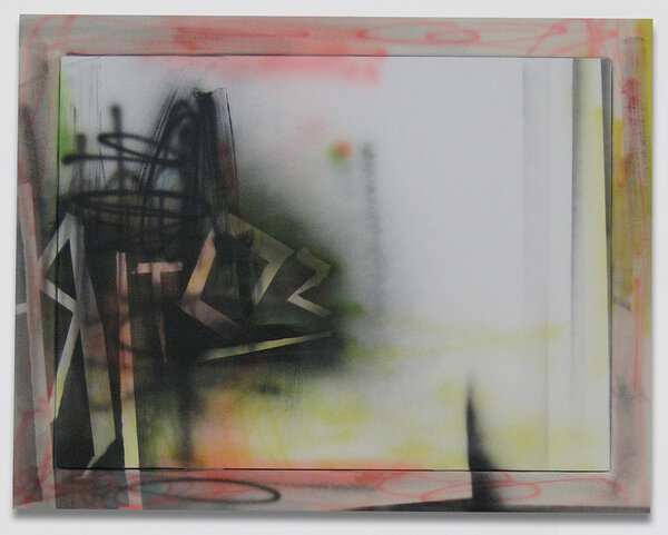 Sotire, 2009, acrylic on canvas, acrylic on canvas over wood artist's frame, 43 1/2 x 55 1/2 inches