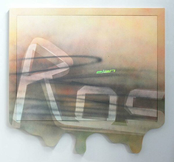 Rossignol/Elan, 2015, acrylic on canvas, acrylic on canvas over wood artist's frame, 50 x 53 inches