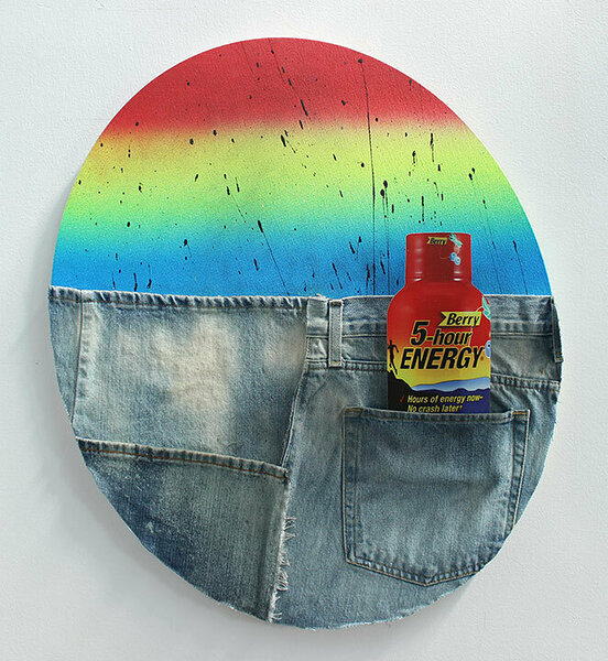 American Dirt Effect (5-hour Energy), 2017, upcycled denim and acrylic on canvas, 24 x 20 inches