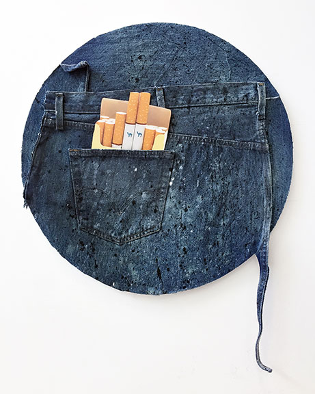 American Dirt Effect (Camel Tondo), 2017, upcycled denim and acrylic on canvas, inkjet print on plexiglas, 20 inches diameter