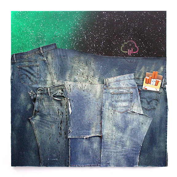 American Dirt Effect 2, 2017, upcycled denim and acrylic on canvas, 48 x 48 inches