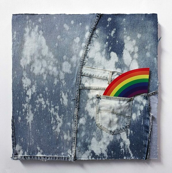 American Bleach Effect (Corner Rainbow), 2019, upcycled denim on canvas, UV print on plexiglas, 24 x 24 inches