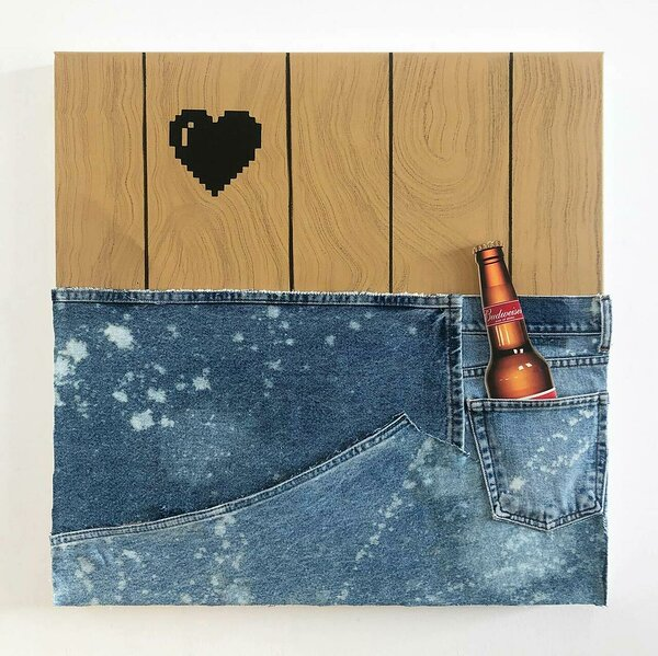 Jeans Panel (Budweiser), 2020, acrylic, spray paint and upcycled denim on canvas, inkjet on plexiglas, 24 x 24 inches