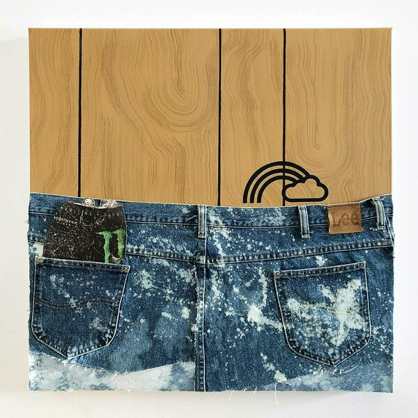 Jeans Panel (Monster Energy), 2020, acrylic, spray paint and upcycled denim on canvas, inkjet on plexiglas, 24 x 24 inches
