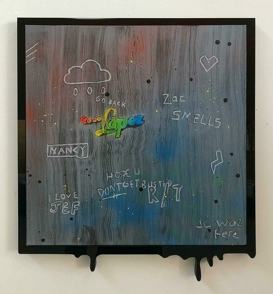 Zac Smells, 2020, acrylic on canvas, PVC and plexiglas artist's frame, 21 1/2 x 19 inches