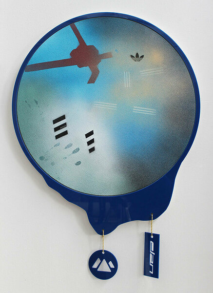 Elan (Corporate Dreamcatcher), 2015, acrylic on canvas, plexiglas and PVC artist's frame, plexiglas logos, ball chain, 30 x 21 inches