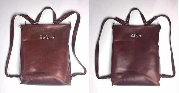 leather care, before and after