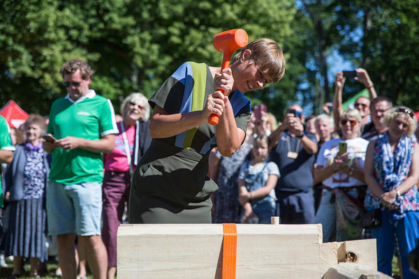 President of Estonia, Kersti Kaljulaid, opening the competition. Photo: Kaie Kiil/Estonian Woodhouse Association