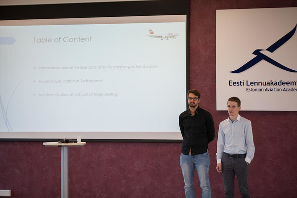 Moritz Schlatter and Patric Fol making a presentation about Swiss aviation education. Photo: Henri Sutting