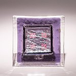 Small fused glass plate, purple with squares