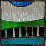 Stained glass, decorative, 18x18cm. Valev Sein