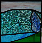 Stained glass with fused glass detail, 18x18cm. Valev Sein