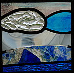 Stained glass, with fused glass detail, 18x18cm. Valev Sein