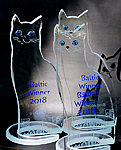 Glass cat. Award for International  Cat Show in Tallinn. H45cm Kalli Sein