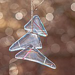 Hanging ornament christmas tree, clear with stripe II