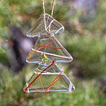 Hanging ornament christmas tree, clear with stripe