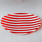 Handmade Glass Bowl, red-white, size 27 x 18 cm