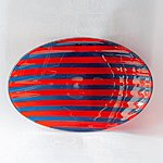 Handmade Glass Bowl, blue -red size 27 x 18 cm