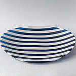 Handmade Glass Bowl, blue-white, size 27 x 18 cm