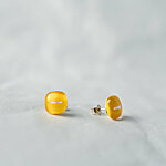 Yellow glass earrings with fiber decoration, 925 sterling silver post