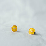 Yellow glass earrings with fiber decoration 12 EUR