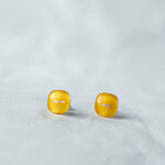 Yellow glass earrings with fiber decoration, opaque yellow and clear glass