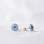 Pale blue glass earrings with dark dots, 925 sterling silver post