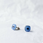 Blue glass earrings with dark square, 925 sterling silver post