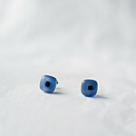 Blue glass earrings with dark square 12 EUR