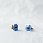 Opaque blue glass earrings with dark square  12 EUR