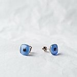 Blue glass earrings with dark square