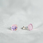 Pink glass earrings with fiber decoration, 925 sterling silver post