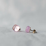 Transparent pink glass earrings 12 EUR