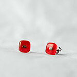 Bright red fused glass earrings  12 EUR