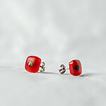 Bright red fused glass earrings, 925 sterling silver post