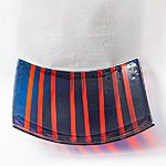 Striped bowl, dark blue-orange 32 x 32 cm