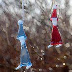 Hanging ornaments elf. Blue and red