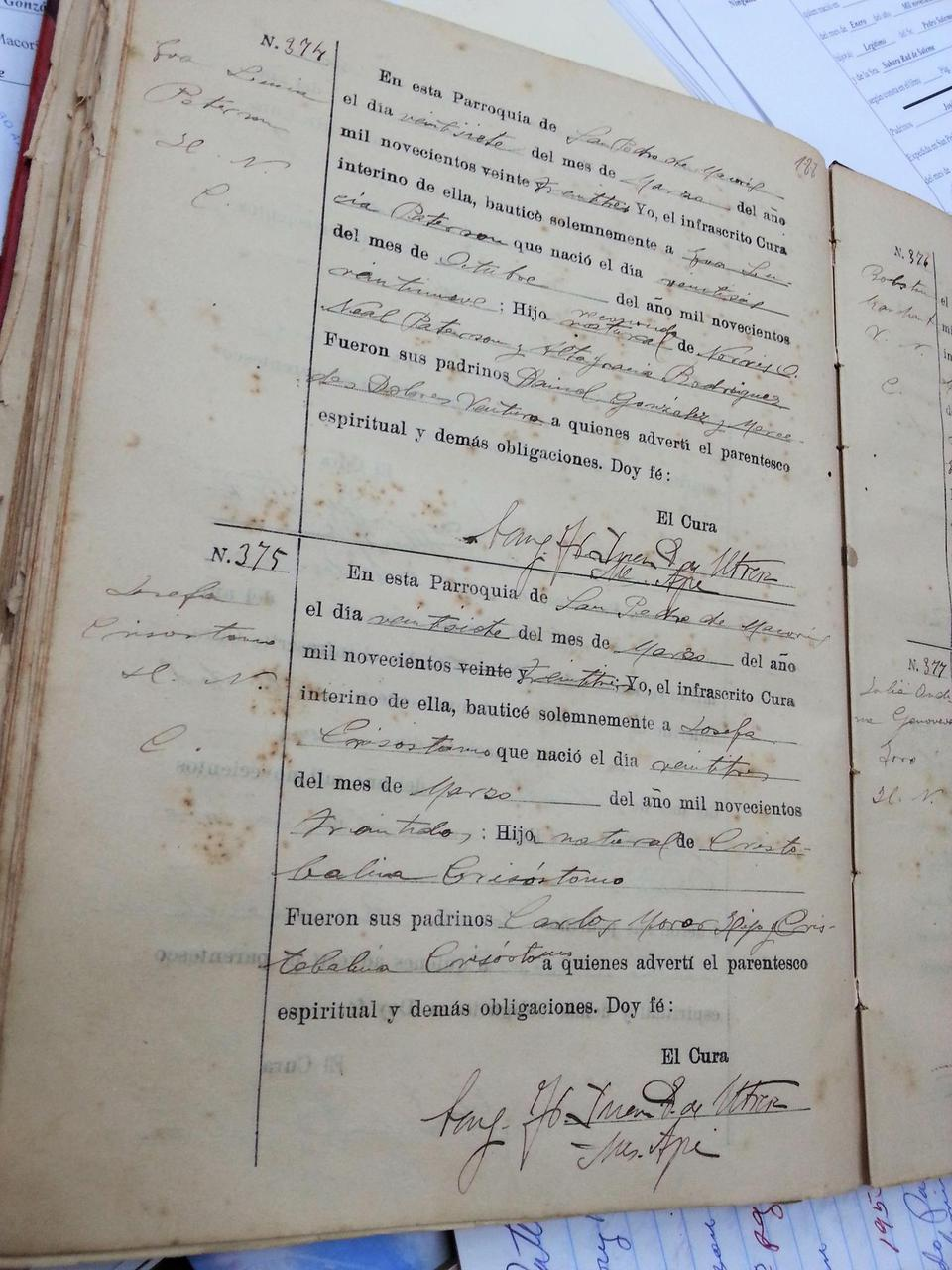 A baptism ledger from 1923