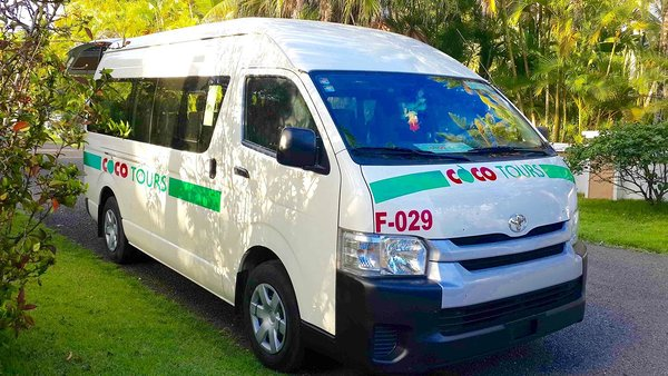 A typical Cocotours van used on our transfers from Punta Cana airport to La Romana & Bayahibe