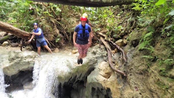 Andrew going for a dip at the 27 waterfalls of Damajagua