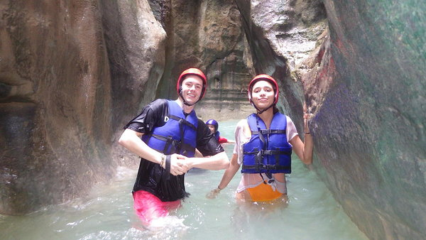 These 2 were having fun at the 27 waterfalls at Damajagua
