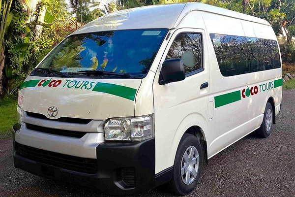 Typical Cocotours van of the type used on the transfer from Punta Cana to Santiago