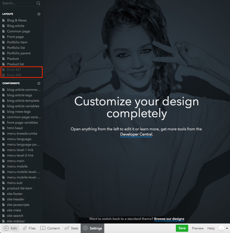 Creating a custom 401 and 404 page – Voog  Beautiful